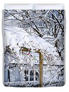 House Under Snow Duvet Cover by Elena Elisseeva