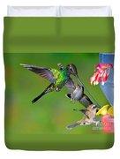 Hummingbirds At Feeder Duvet Cover