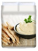 Hummus With Pita Bread Duvet Cover