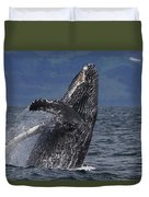Humpback Whale Breaching Prince William Duvet Cover