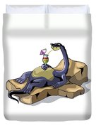 Illustration Of A Brontosaurus Duvet Cover by Stocktrek Images