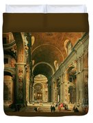 Interior Of St Peters In Rome Duvet Cover by Giovanni Paolo Panini