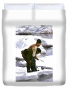 Inuit Boys Ice Fishing Barrow Alaska July 1969 Duvet Cover