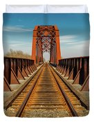 Iron Railroad Bridge Over Water, Texas Duvet Cover