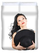 Isolated Beauty Portrait. Womens Hats And Headwear Duvet Cover