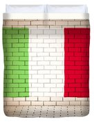 Italy Flag Brick Wall Background Duvet Cover