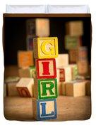 Its A Girl - Alphabet Blocks Duvet Cover