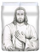 Jesus Offering His Hand Duvet Cover