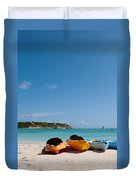 Kayaks On Beach Duvet Cover