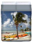 Kayaks On The Beach Duvet Cover
