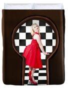 Keyhole Retro Fashion Portrait Of Stylish Girl Duvet Cover