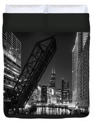Kinzie Street Railroad Bridge At Night In Black And White Duvet Cover
