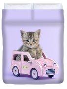 Kitten In Pink Car Duvet Cover