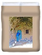 Knocking On A Blue Door Of Tufa Home In Goreme In Cappadocia-turkey  Duvet Cover