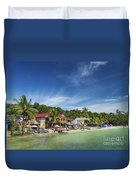 Koh Rong Island Beach Bars In Cambodia Duvet Cover