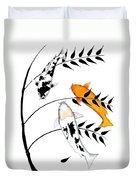 Koi Utsurimono Yellow Golden Ogon Bekko And Bamboo   Duvet Cover