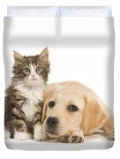 Labrador And Forest Cat Duvet Cover