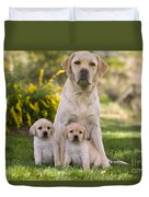 Labrador With Two Puppies Duvet Cover