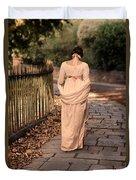 Lady In Regency Dress Walking Duvet Cover