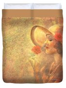 1-lady In The Flower Garden Duvet Cover