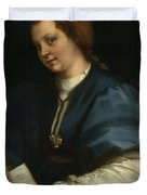 Lady With A Book Of Petrarch's Rhyme Duvet Cover