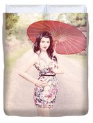 Lady With Red Parasol Duvet Cover