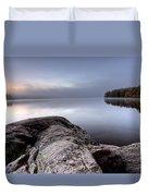 Lake In Autumn Sunrise Reflection Duvet Cover