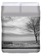 Lake Tree And Park Bench Duvet Cover