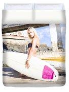 Landscape Surfing Portrait Duvet Cover