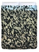 Large Flock Of Blackbirds And Cowbirds Duvet Cover