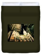 Large Stone Church At Night Duvet Cover