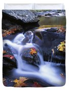 Leaves In Little River Great Smoky Duvet Cover