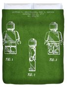 Lego Toy Figure Patent - Green Duvet Cover by Aged Pixel