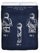 Lego Toy Figure Patent - Navy Blue Duvet Cover by Aged Pixel