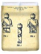 Lego Toy Figure Patent - Vintage Duvet Cover
