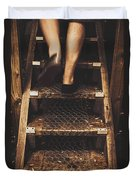 Legs Of A Bushwalking Man Climbing Wooden Stairs Duvet Cover