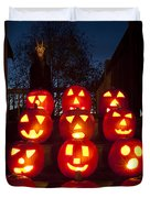 Lit Pumpkins With Demon On Halloween Duvet Cover