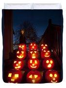 Lit Pumpkins With Demon On Halloween Duvet Cover