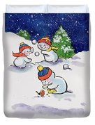 Little Snowmen Snowballing Duvet Cover