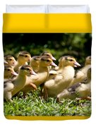 Yellow Muscovy Duck Ducklings Running In Hurry  Duvet Cover