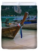 Longtail Boats Moored On The Beach Duvet Cover