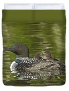 Loon Parent With Two Chicks Duvet Cover