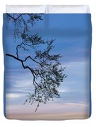 Low Angle View Of Tree At Dawn, Dark Duvet Cover