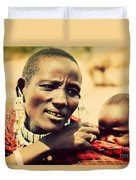Maasai Baby Carried By His Mother In Tanzania Duvet Cover