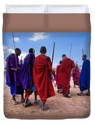 Maasai Men In Their Ritual Dance In Their Village In Tanzania Duvet Cover