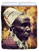 Maasai Old Woman Portrait In Tanzania Duvet Cover