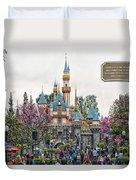 Main Street Sleeping Beauty Castle Disneyland 01 Duvet Cover