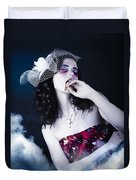 Makeup Beauty With Gothic Hair And Bloody Mouth Duvet Cover