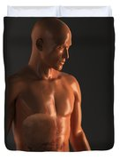 Male Figure With Digestive System Duvet Cover