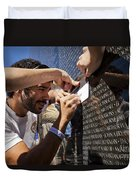 Man Getting A Rubbing Of Fallen Soldier's Name At The Vietnam War Memorial Duvet Cover